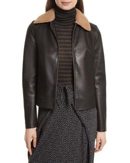 Leather Jacket With Genuine Shearling Trim