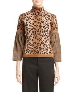Chenille Sleeve Leopard Jacquard Sweater