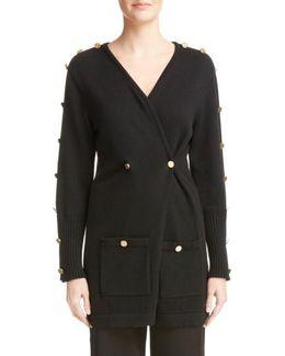 Button Detail Wool Cardigan