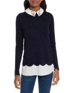 Suzaine Embellished Layered Look Sweater
