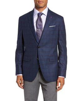 Trim Fit Plaid Wool Sport Coat