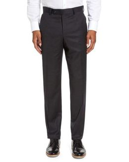 Jeremy Flat Front Solid Wool Trousers