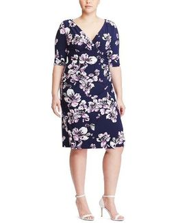 Floral Print Faux Wrap Dress