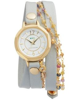 La Mer Nolita Leather Wrap Strap Watch