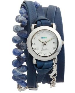 Stone & Leather Wrap Strap Watch