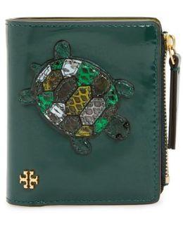 Mini Turtle Genuine Snakeskin & Leather Wallet