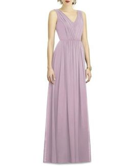 Shirred Shimmer Chiffon Gown
