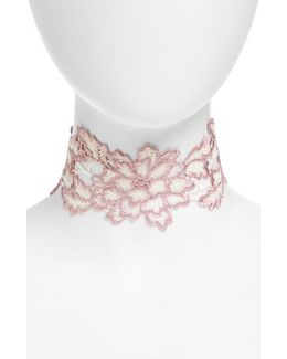 Embroidered Floral Lace Choker