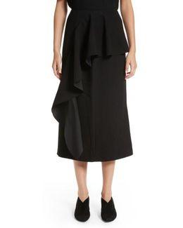 Maude Ruffle Panel Crepe Skirt