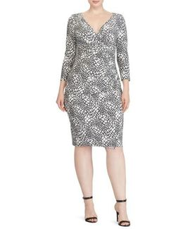 Shirred Print Jersey Sheath Dress