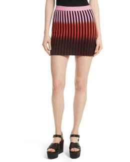Dip Dye Stripe Knit Skirt