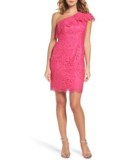 Ruffle Lace One-shoulder Sheath Dress