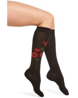 Falling Poppy Knee High Socks