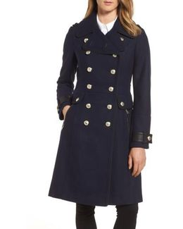 Wool Blend Military Coat