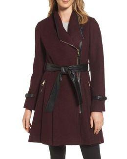 Belted Boiled Wool Blend Coat
