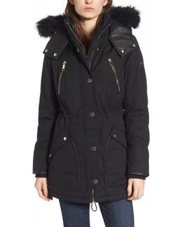 Hooded Anorak With Detachable Faux Fur