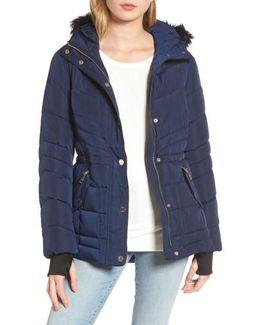 Faux Fur Trim Quilted Anorak