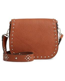 Studded Faux Leather Satchel