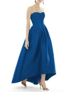 Strapless High/low Sateen Twill Gown