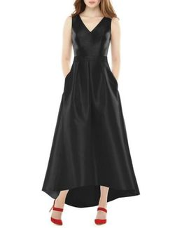 High/low Sateen Twill Gown