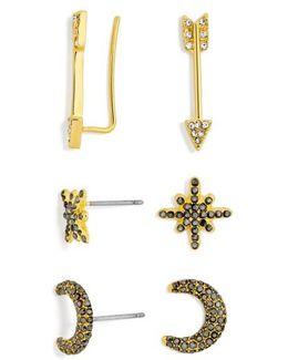 3-pack Crystal Earrings