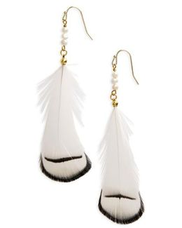 Feather & Pearl Earrings