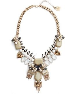 Crystal & Spike Statement Necklace