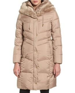 3/4 Down Coat With Faux Fur Hood