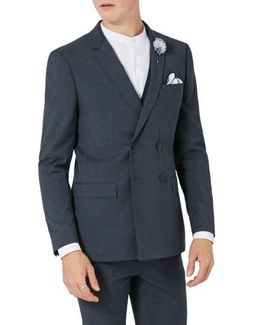 Skinny Fit Double Breasted Suit Jacket