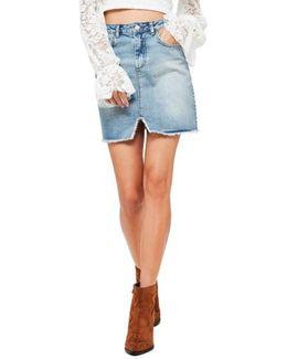High Rise Denim Miniskirt