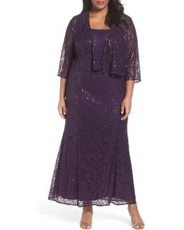 Sequin Lace Gown With Jacket