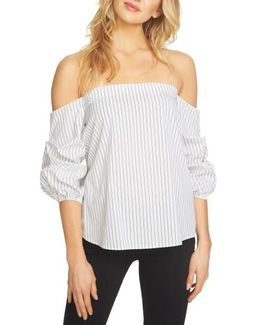 Off The Shoulder Stretch Cotton Blouse
