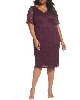 Rose Lace Sheath Dress