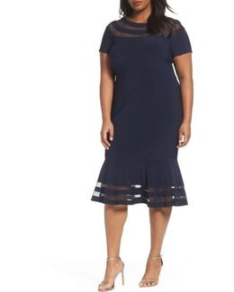 Shadow Stripe Flounce Hem Midi Dress