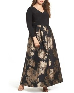 Mesh Inset Print Skirt Gown