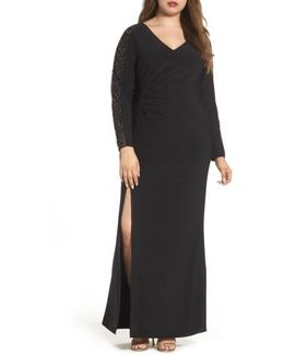 Embellished Jersey A-line Gown