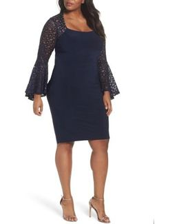 Ruched Lace Sleeve Sheath Dress