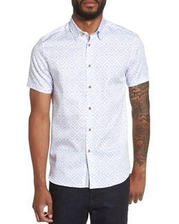 Almada Trim Fit Diamond Woven Shirt