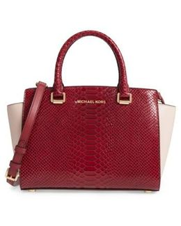 Medium Selma Embossed Leather Satchel