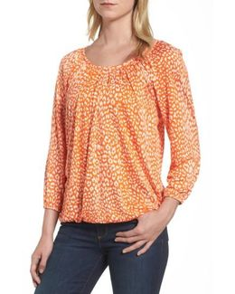 Cheetah Print Peasant Top