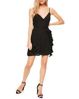 Ruffle Crepe Sheath Dress