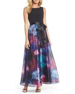 Floral Splash Mixed Media Maxi Dress