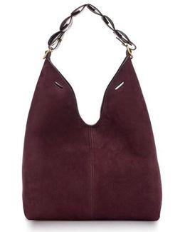 Heart Link Small Suede Bucket Bag