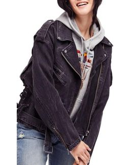 Oversize Denim Moto Jacket