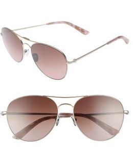 57mm Aviator Sunglasses - Satin Nickel/ Rose Gold