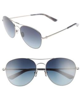 57mm Aviator Sunglasses - Satin Nickel