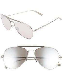 58mm Aviator Sunglasses - Satin Silver
