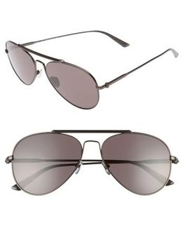 58mm Aviator Sunglasses - Satin Titanium