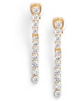 Cubic Zirconia Linear Drop Earrings