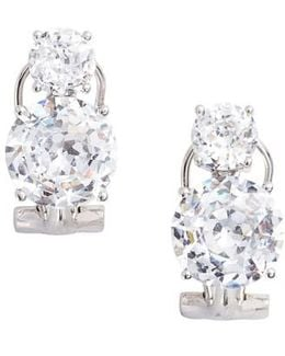 Double Cubic Zirconia Clip Stud Earrings